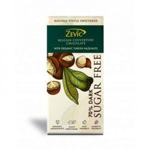 Zevic Belgian Couverture chocolate Sugar Free with Organic Turkish Hazelnuts
